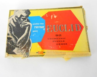 Vintage Euclid geometric puzzle game in box Tryne Game Euclid plastic puzzle 1961 with instruction manual complete Euclid game brain game