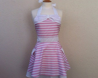 Retro apron circle skirt, pastel pink and white striped fabric, 1950s inspired, fully lined.