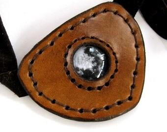 Leather Eye Patch Steampunk Brown Tan Eyepatch Moon