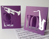 Table Numbers, Musical Instruments, Jazz Style Music Themed, Musician Party, Classic Music Event, Cutout, Scrapbook, Papercut by Naboko