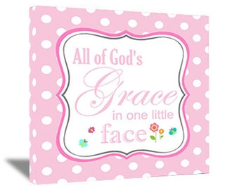 Framed canvas print All of God's grace in one little face cute nursery art saying quote wall plaque decorations decor lettering baby girl
