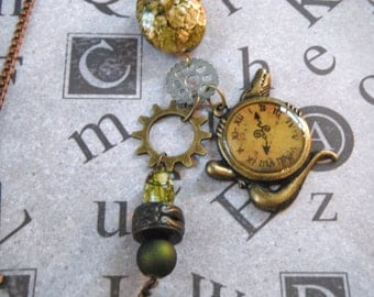 Croco-clock Steampunk Necklace (with earrings)