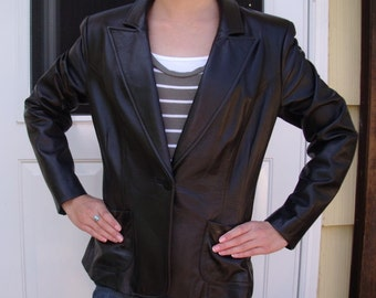 Vintage Black Leather Fitted Blazer Jacket The Limited Sz 6
