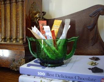 Vintage Depression Antique Dark Green Glass Sugar Bowl Marked KW, Emerald Green, Pressed Glass