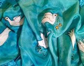 Original handpainted Christmas silk scarf by The Silk Maid  'Peace Doves'.