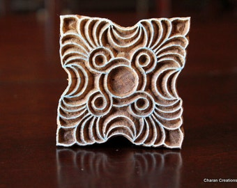 Hand Carved Indian Wood Textile Stamp Block- Square Art Deco Design