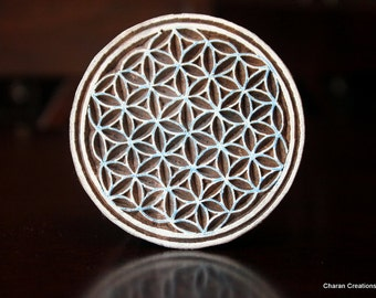 Hand Carved Indian Wood Textile Stamp Block- Flower of Life