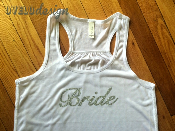 Bride, Bridesmaid, Maid of Honor Tank Top Flowy Racerback Tank Printed in a Sparkle Glitter! Customizable!