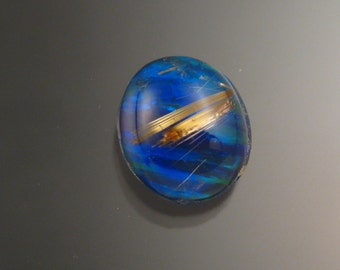 Rutilated Quartz and lab Opal doublet 10mm x 12mm Oval Cabochon Deep blue green