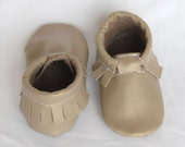 Gold, Tan, Shiny Genuine Real Leather Moccasins, Moccs, Shoes