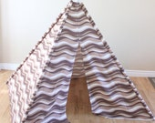 Brown, Cream, Tan, Stripe, Striped, Camoflauge, Camo, Play Teepee, Tee Pee, Tent (poles included) Ready to Ship