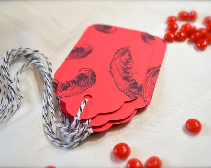 Red Feather Stamped Gift Tags, Very Romantic, Vintage Style set of 6