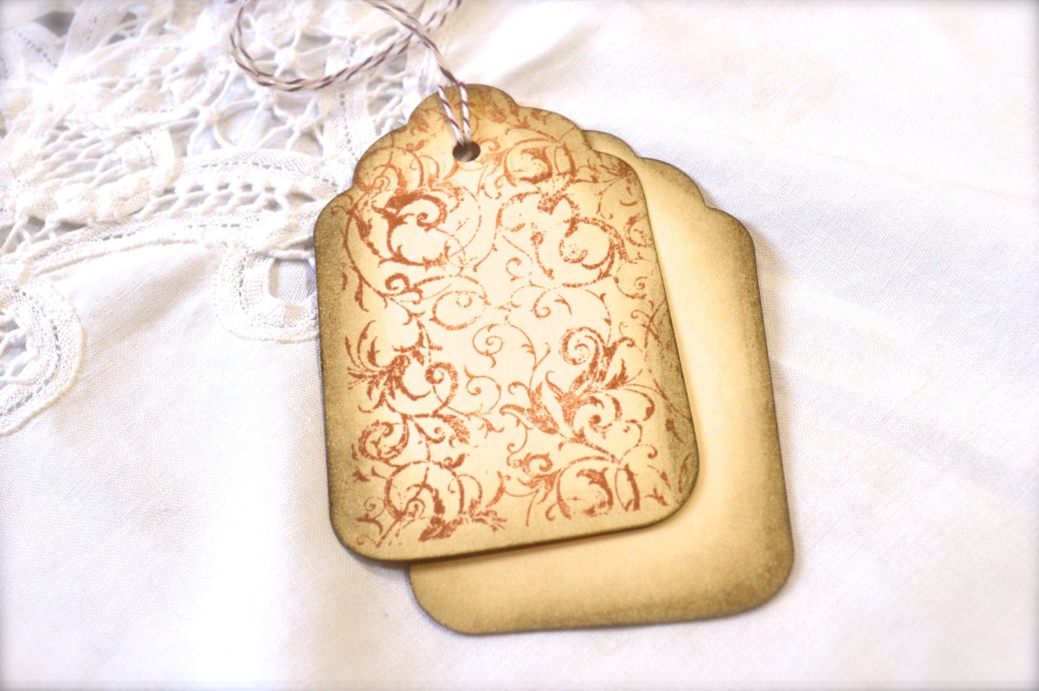 French Filagree Sepia Gift Tags Wine Charms Wedding Favor