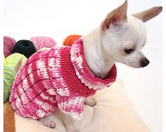 Pink Knitted Dog Sweater Cotton Pet Boutique Girl Puppy Chihuahua Clothes Teacup Yorkie Clothing Handmade Knit DK852 Myknitt - Free Shipping