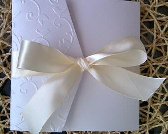Elegant White and champagne Embossed Birds and Vine Invitation