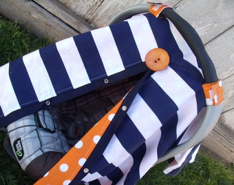 Carseat Canopy Navy Stripe Orange Dot boy carseat cover
