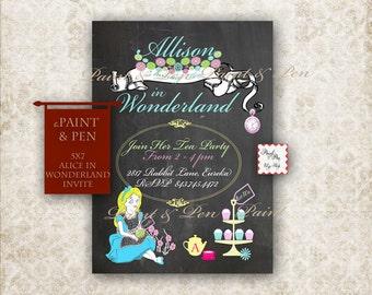 Alice in Wonderland Party - Wonderland Party Invitation - DIGITAL Invitation - Disney Inspired Birthday - Cupcake Party - Tea Party Birthday