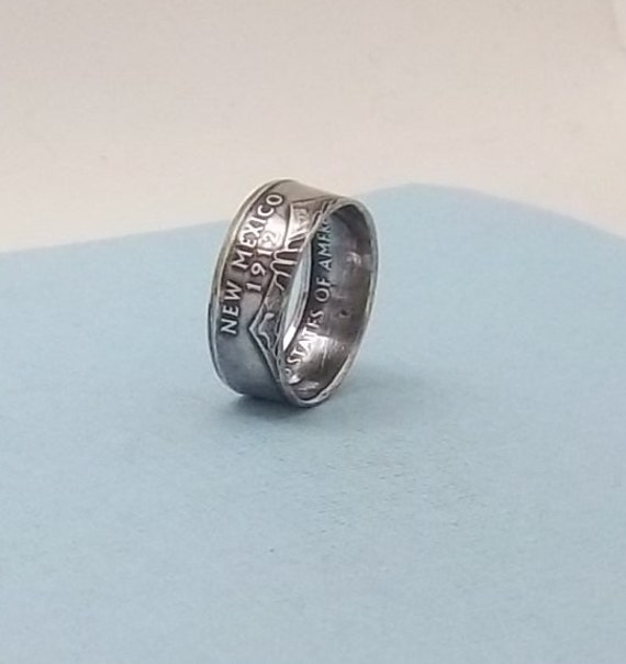 Silver Proof coin ring  New Mexico State quarter year 2008 size 7 1/2,  90% fine silver jewelry unique Statehood gift FREE SHIPPING