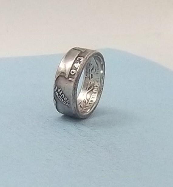 silver coin ring washington quarter year 1943 size 7 90
