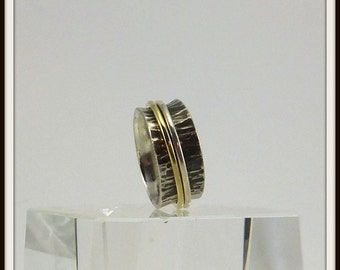 Meditation handmade spinner ring Artisan designer Blackened sterling silver and brass man and woman Your size