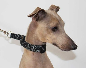 """Limited Slip Buckle Collar 20mm / 3/4"""" width for Italian Greyhounds and other small breeds Black and Silver Filigree"""