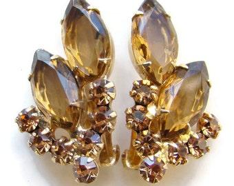 Juliana DeLizza & Elster Topaz Champagne Rhinestone Clip Earrings