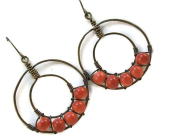 Hoop Beaded Earrings - Wire Wrapped and Hammered Double Hoop Earrings with Orange Glass Beads