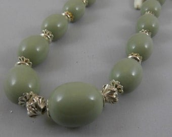 Glass Olive Bead and Sterling Silver Long Necklace