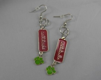 Silver, Pink, and Green Cat Paw Cattitude Dangle Earrings