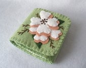 White Dogwood Felt Needle Book,  Large Tri-Fold Needle Wrap Wallet,  Magnetic Closure,  Wool Felt, Asian Floral,  Celery Green and White