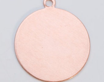 """COPPER 24g 1""""  ROUND Blank with Ring -  Pack of 6 Pieces - Metal Stamping Blank - DIY Metal Stamping Supply"""