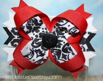 Black, White and Red Damask Bow