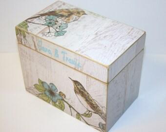 Recipe Box, Bird Recipe Box, Whitewashed Wood Box, 4x6 Wood Recipe Box, Blue and White Kitchen, Wedding Guest Book Box