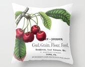 Throw Pillow Cover - Cherries on Vintage Ephemera - 16x16, 18x18, 20x20 - Pillow case Original Design Home Décor by Adidit