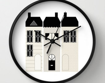 Houses Wall Clock - Kids Houses Wall Clock - Black White Cream - Original Design - Home decor by Adidit