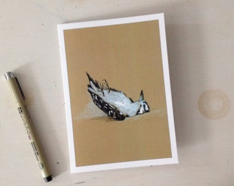 Dead Bird no.1, 5x7 card Original ink Drawing and gouache paint on brown paper, Ready to Ship