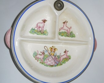 Vintage Baby Food Warmer - Little Bo Peep Baby Dish - 1950s Nursery Rhyme - Childrens Bowl