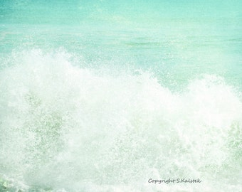 Ocean Photograph Aqua Teal Sea Green Print Large Ocean Wave Photograph 8x10 The Spell of the Sea