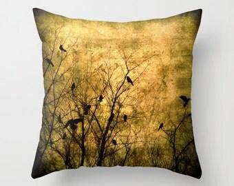 Pillow Cover, Crow Pillow Cover, Golden Sepia Brown Pillow, Crows in Branches Photo Pillow, Birds Pillow, Musical Notes Pillow, Bird bedding