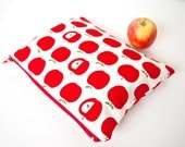 Small Zippered Wet Bag Pouch  - Red Apples