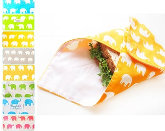 Sandwich Wrap with Waterproof Nylon Lining - Elephant (Choose Your Color)