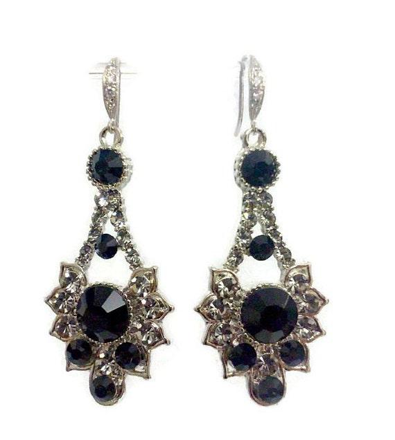 Black Earrings, Art Deco Bridal Party Earrings, Geometric Earrings, Swarovski Crystal Jewelry, RAYS
