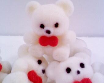 Fuzzy Flocked Teddy Bear Pin, Off-White