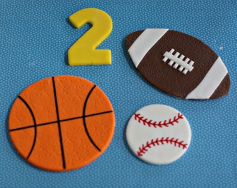 Fondant Sports Basketball, Baseball, Football and Age Cake Decorations