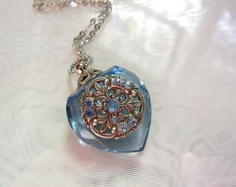 Vintage Inspired Blue Crystal  Heart Perfume Bottle Necklace