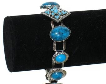 Vintage 60s Boho Bracelet * Turquoise Bracelet * Chain Link Bracelet * Bead Bracelet * Costume Jewelry * Blue Bracelet * Boho Bracelet / BP
