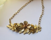 25% OFF SALE Repurposed collage necklace vintage pieces made new goldtone and enamel flowers