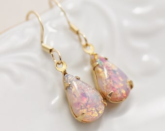 Vintage Fire Opal Earrings, Petite Vintage Glass Harlequin Opal Earrings, Teardrop. Gold Filled, Birthstone, Shabby Chic