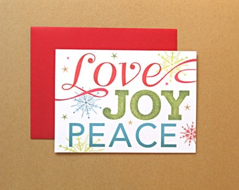 Christmas Cards, Holiday Cards, Love Joy Peace, Snowflakes, 25-Count