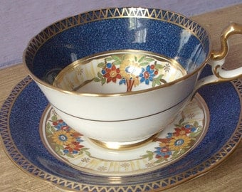 UNIQUE Antique 1920's Aynsley hand painted tea cup, English tea cup, blue tea cup, Bone China tea cup, blue and gold tea cup and saucer